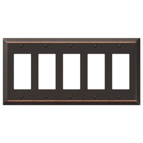 Century Aged Bronze Steel - 5 Rocker Wallplate - Wallplate Warehouse