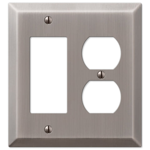 Century Antique Nickel Steel - 1 Rocker / 1 Duplex Outlet Wallplate - Wallplate Warehouse