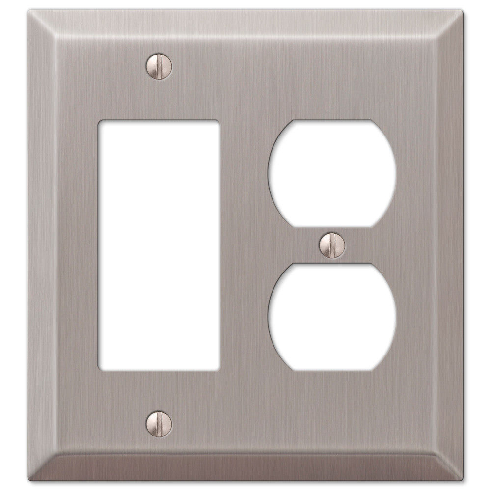 Century Brushed Nickel Steel - 1 Rocker / 1 Duplex Outlet Wallplate - Wallplate Warehouse