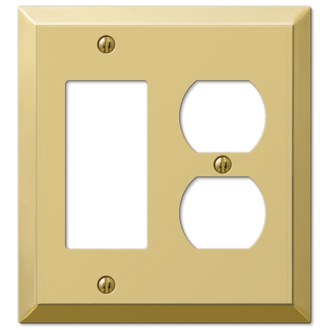 Century Polished Brass Steel - 1 Rocker / 1 Duplex Outlet Wallplate - Wallplate Warehouse