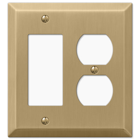 Century Brushed Bronze Steel - 1 Rocker / 1 Duplex Outlet Wallplate - Wallplate Warehouse