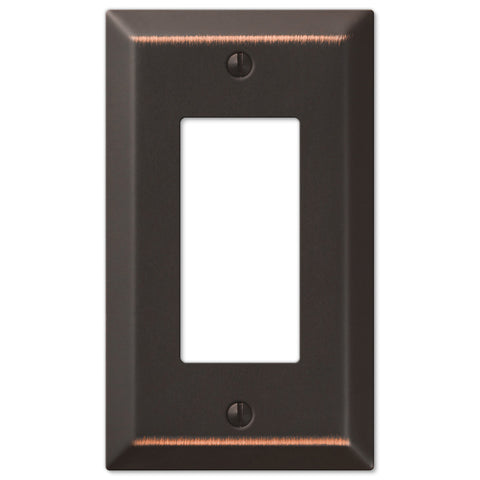 Century Aged Bronze Steel - 1 Rocker Wallplate - Wallplate Warehouse