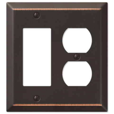 Century Aged Bronze Steel - 1 Rocker / 1 Duplex Outlet Wallplate - Wallplate Warehouse