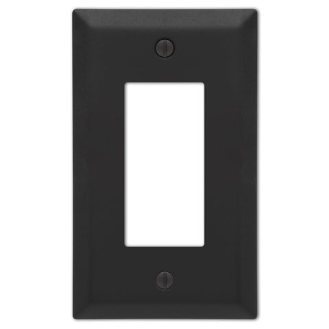 Century Matte Black Steel - 1 Rocker  Wallplate - Wallplate Warehouse