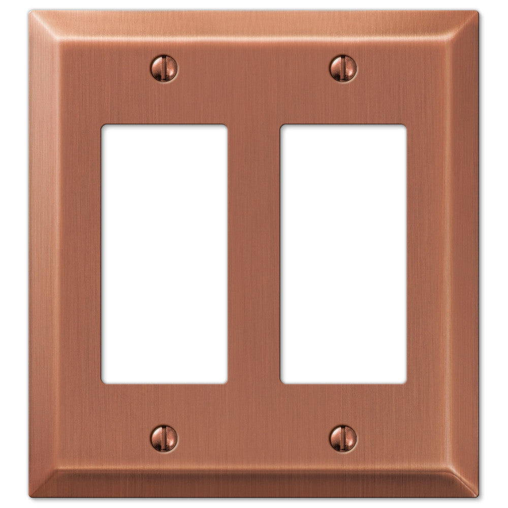 Century Antique Copper Steel - 2 Rocker Wallplate - Wallplate Warehouse