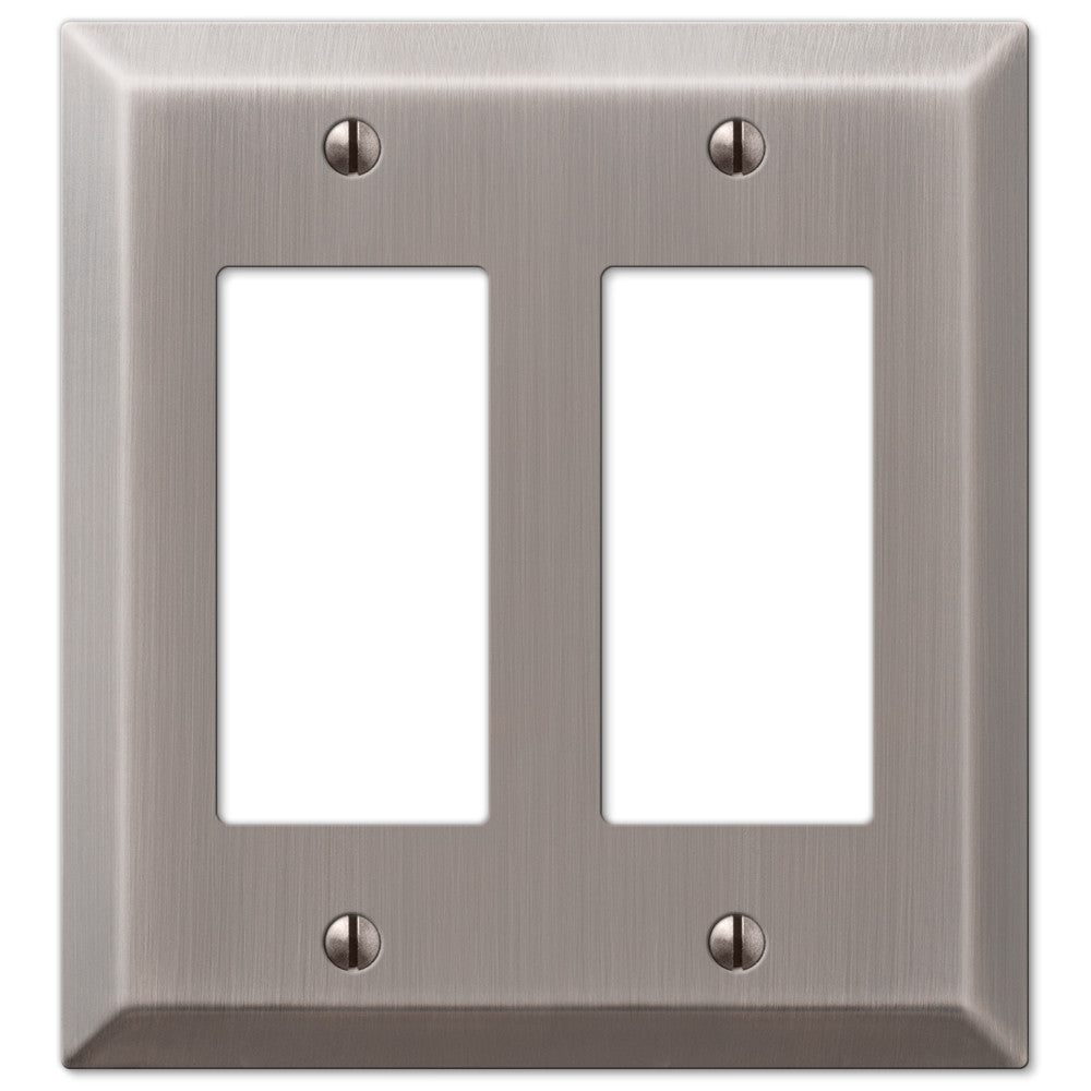 Century Antique Nickel Steel - 2 Rocker Wallplate - Wallplate Warehouse