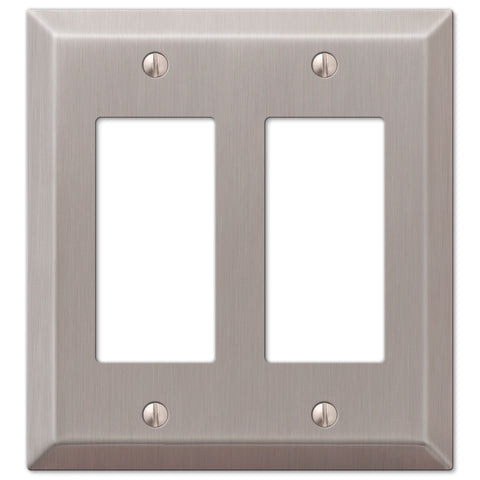 Century Brushed Nickel Steel - 2 Rocker Wallplate - Wallplate Warehouse