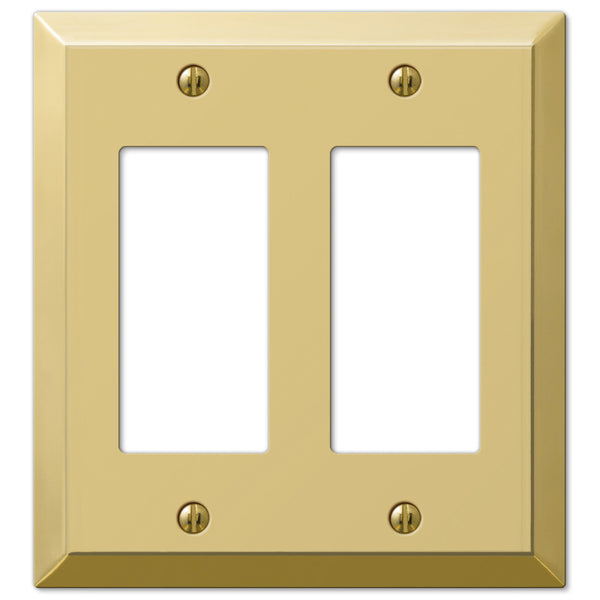 Century Polished Brass Steel - 2 Rocker Wallplate - Wallplate Warehouse
