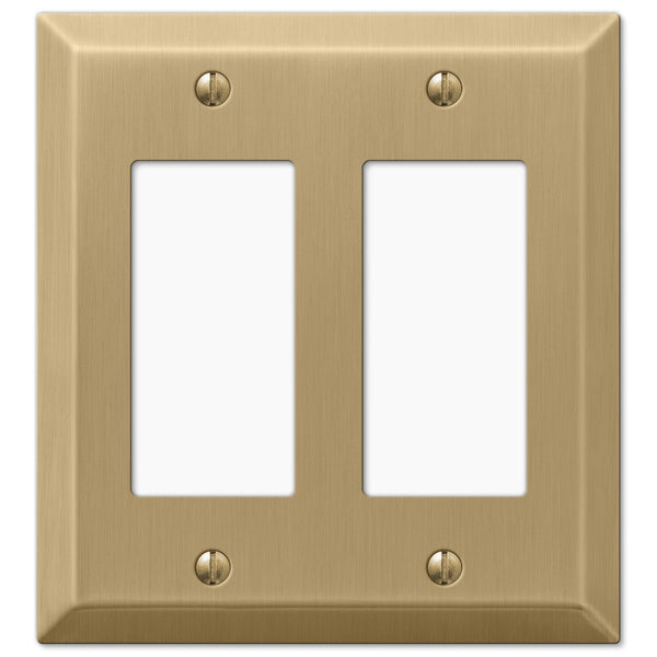 Century Brushed Bronze Steel - 2 Rocker Wallplate - Wallplate Warehouse