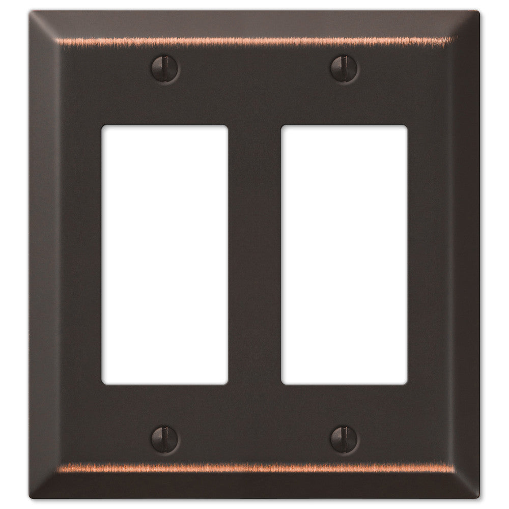 Century Aged Bronze Steel - 2 Rocker Wallplate - Wallplate Warehouse