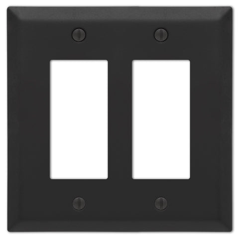 Century Matte Black Steel - 2 Rocker  Wallplate - Wallplate Warehouse