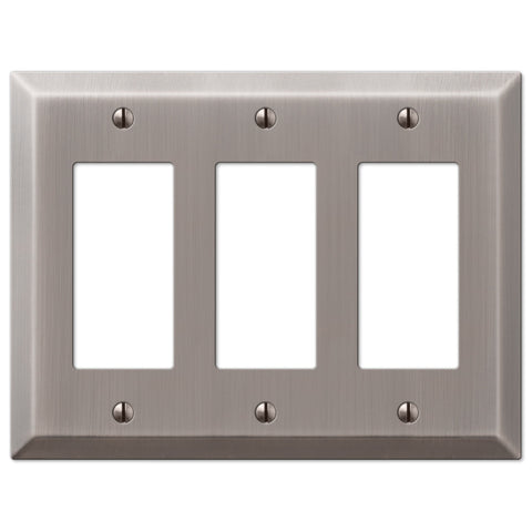 Century Antique Nickel Steel - 3 Rocker Wallplate - Wallplate Warehouse