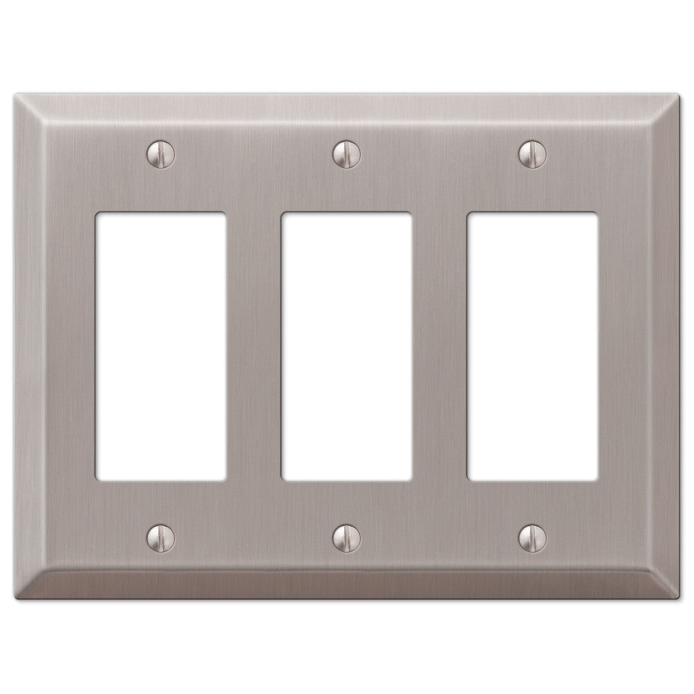 Century Brushed Nickel Steel - 3 Rocker Wallplate - Wallplate Warehouse