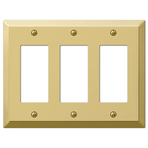Century Polished Brass Steel - 3 Rocker Wallplate - Wallplate Warehouse