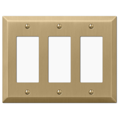 Century Brushed Bronze Steel - 3 Rocker Wallplate - Wallplate Warehouse