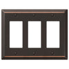 Century Aged Bronze Steel - 3 Rocker Wallplate - Wallplate Warehouse