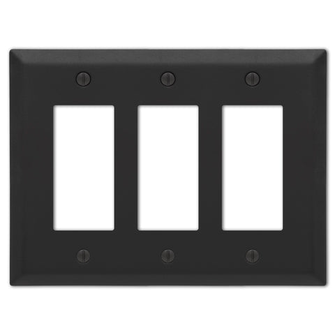Century Matte Black Steel - 3 Rocker  Wallplate - Wallplate Warehouse