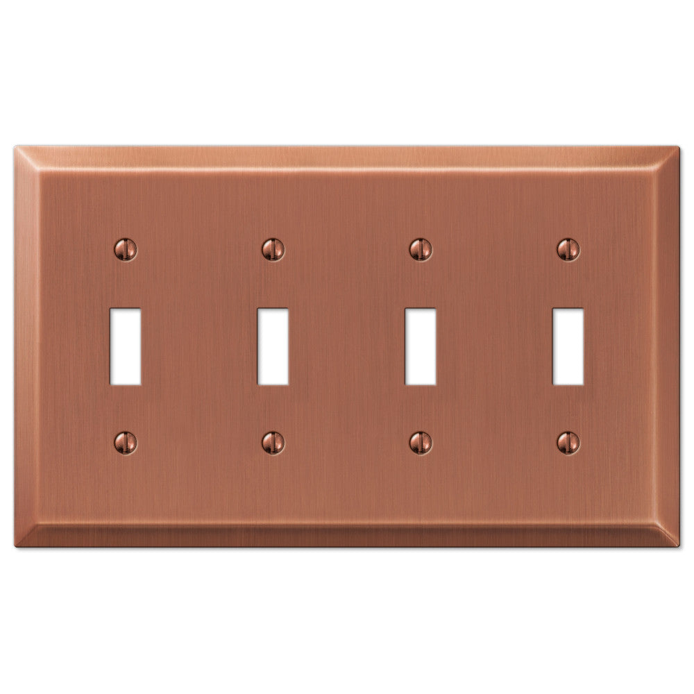 Century Antique Copper Steel - 4 Toggle Wallplate - Wallplate Warehouse