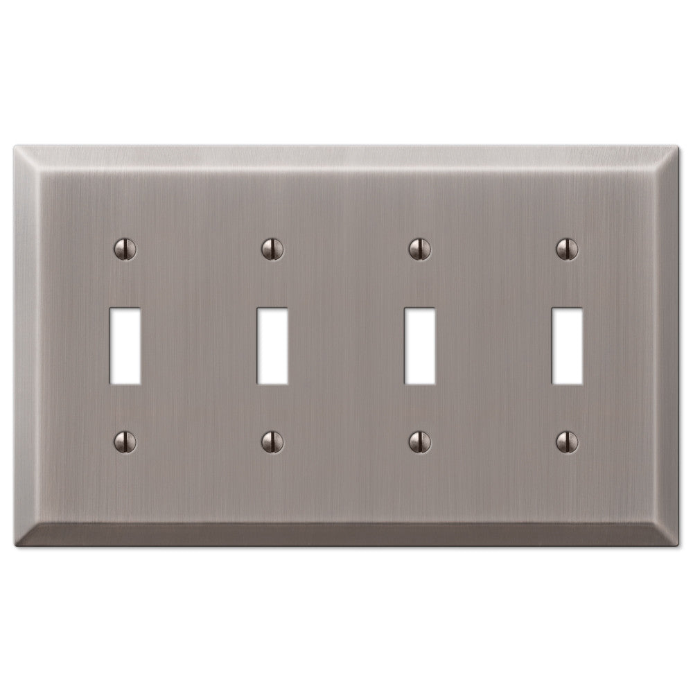 Century Antique Nickel Steel - 4 Toggle Wallplate - Wallplate Warehouse