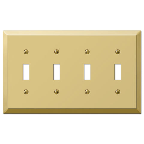 Century Polished Brass Steel - 4 Toggle Wallplate - Wallplate Warehouse