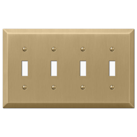 Century Brushed Bronze Steel - 4 Toggle Wallplate - Wallplate Warehouse