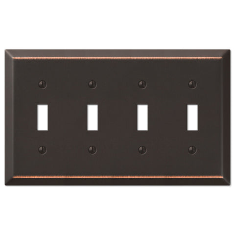 Century Aged Bronze Steel - 4 Toggle Wallplate - Wallplate Warehouse