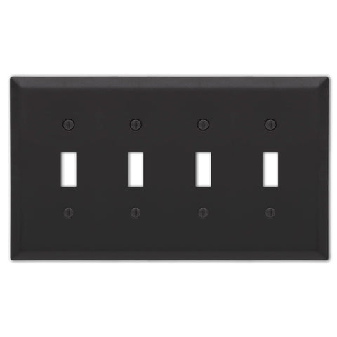 Century Matte Black Steel - 4 Toggle Wallplate - Wallplate Warehouse