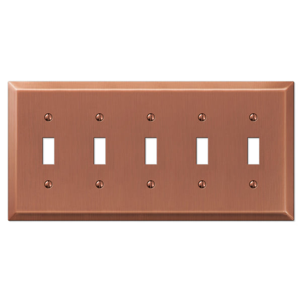Century Antique Copper Steel - 5 Toggle Wallplate - Wallplate Warehouse