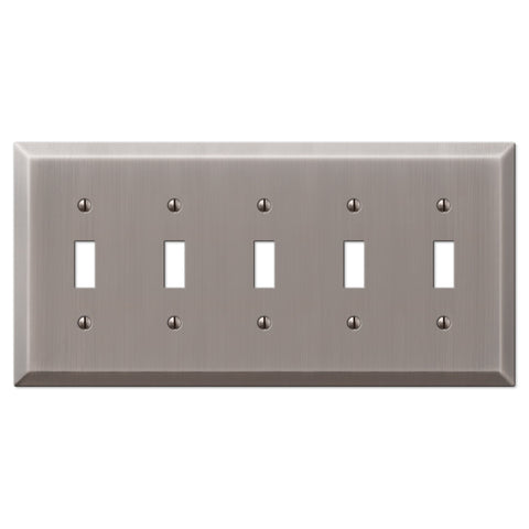 Century Antique Nickel Steel - 5 Toggle Wallplate - Wallplate Warehouse