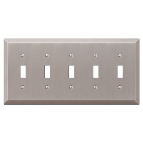 Century Brushed Nickel Steel - 5 Toggle Wallplate - Wallplate Warehouse