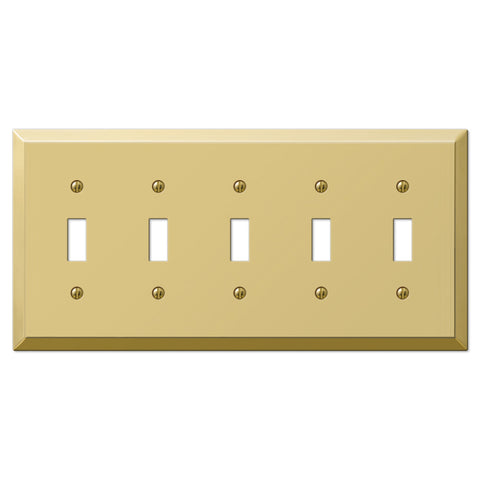 Century Polished Brass Steel - 5 Toggle Wallplate - Wallplate Warehouse