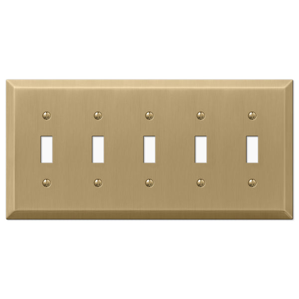 Century Brushed Bronze Steel - 5 Toggle Wallplate - Wallplate Warehouse