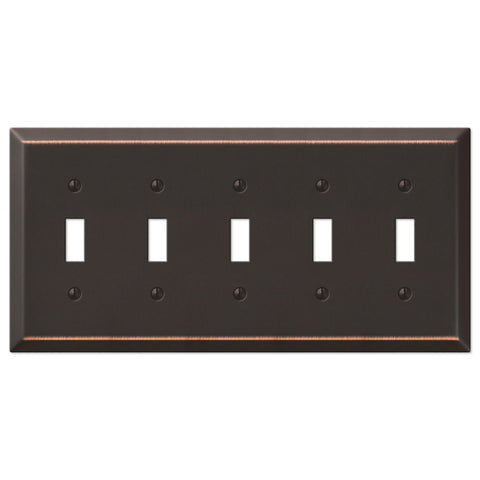 Century Aged Bronze Steel - 5 Toggle Wallplate - Wallplate Warehouse