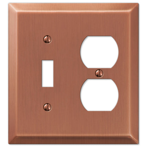Century Antique Copper Steel - 1 Toggle / 1 Duplex Outlet Wallplate - Wallplate Warehouse