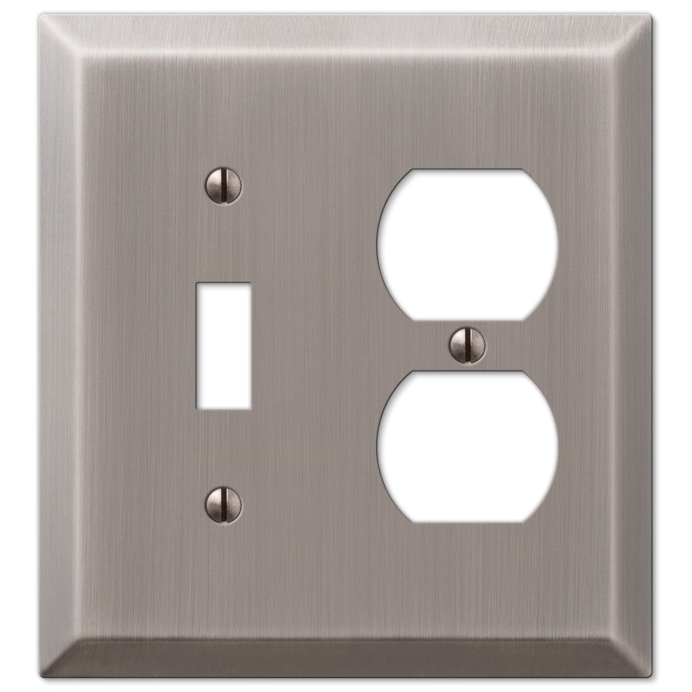 Century Antique Nickel Steel - 1 Toggle / 1 Duplex Outlet Wallplate - Wallplate Warehouse