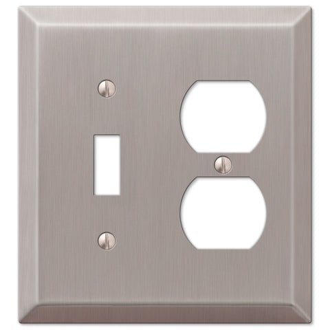 Century Brushed Nickel Steel - 1 Toggle / 1 Duplex Outlet Wallplate - Wallplate Warehouse