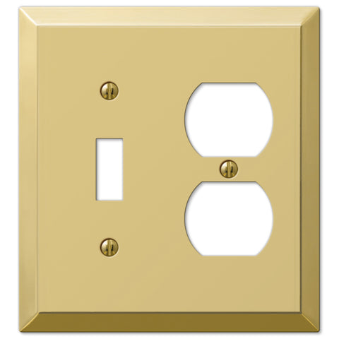 Century Polished Brass Steel - 1 Toggle / 1 Duplex Outlet Wallplate - Wallplate Warehouse