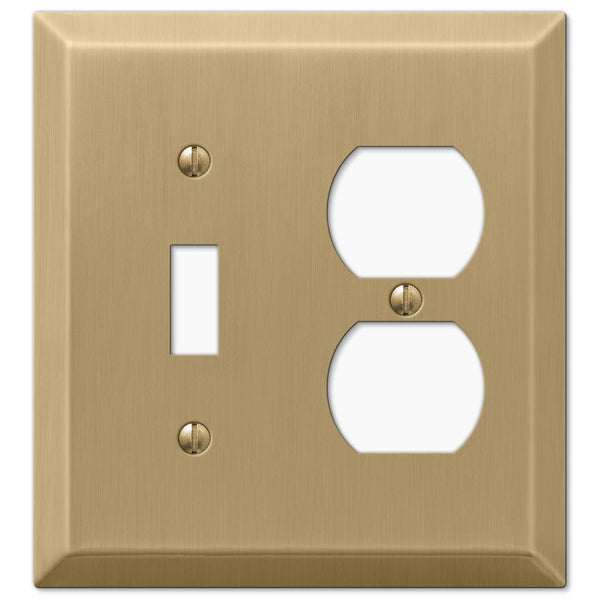 Century Brushed Bronze Steel - 1 Toggle / 1 Duplex Outlet Wallplate - Wallplate Warehouse