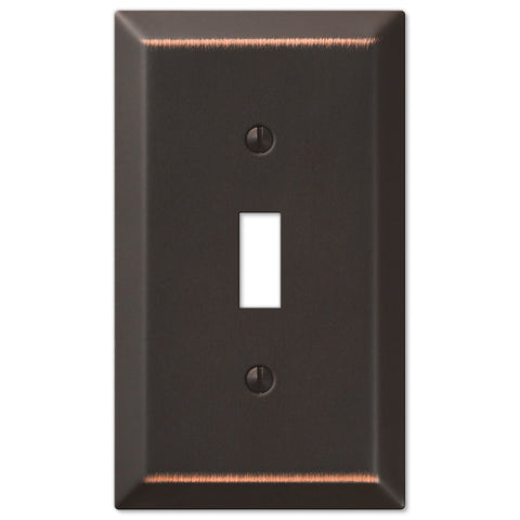 Century Aged Bronze Steel - 1 Toggle Wallplate - Wallplate Warehouse