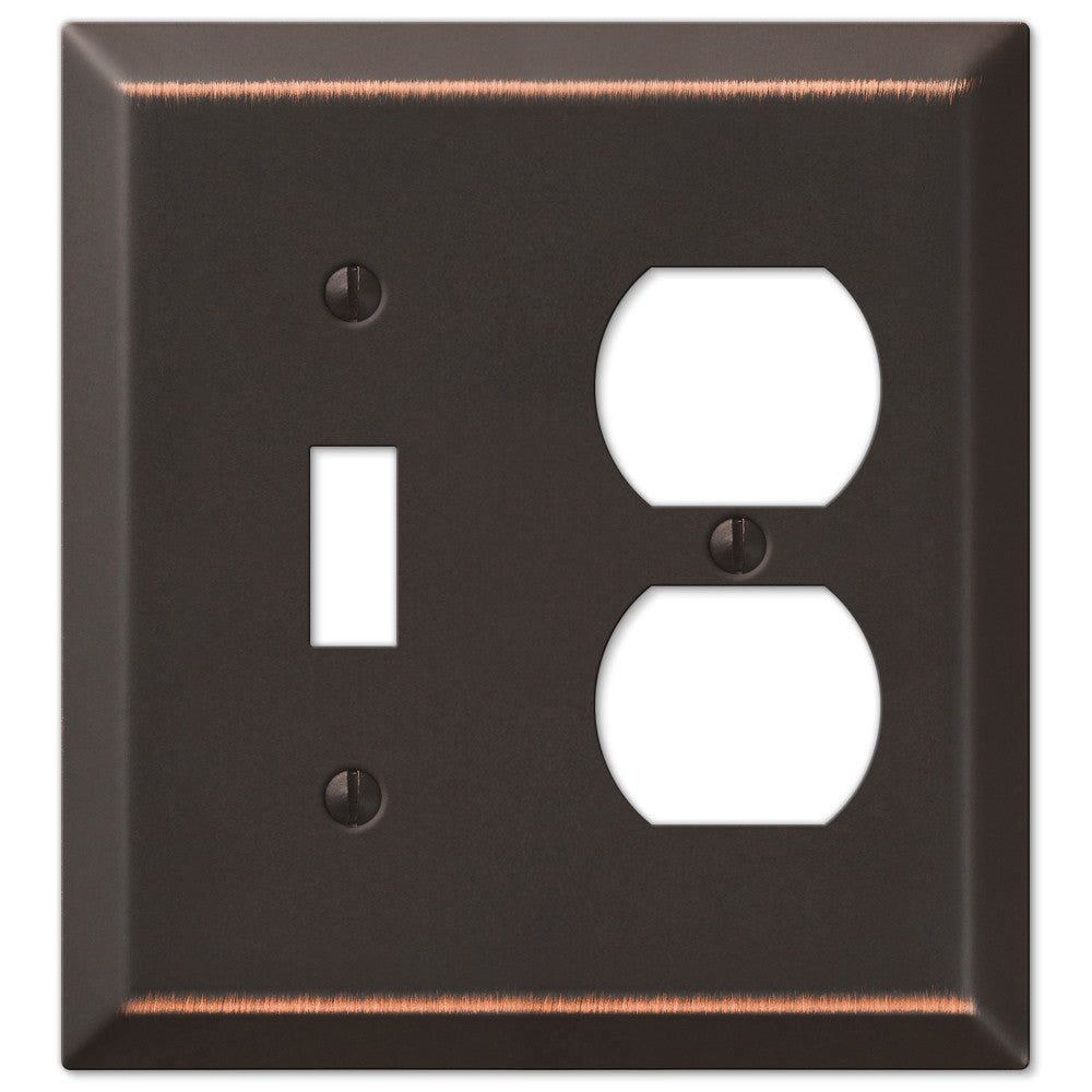 Century Aged Bronze Steel - 1 Toggle / 1 Duplex Outlet Wallplate - Wallplate Warehouse