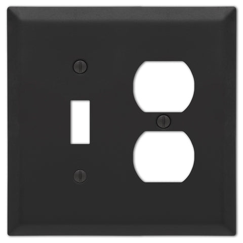 Century Matte Black Steel - 1 Toggle / 1 Duplex Wallplate - Wallplate Warehouse