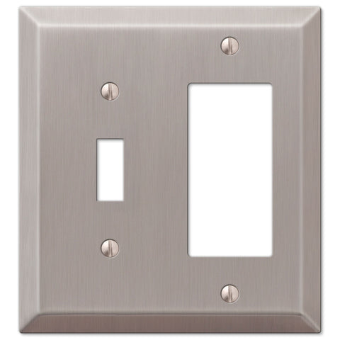 Century Brushed Nickel Steel - 1 Toggle / 1 Rocker Wallplate - Wallplate Warehouse