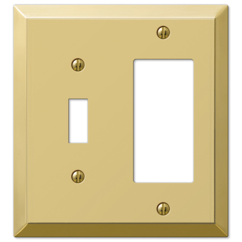 Century Polished Brass Steel - 1 Toggle / 1 Rocker Wallplate - Wallplate Warehouse