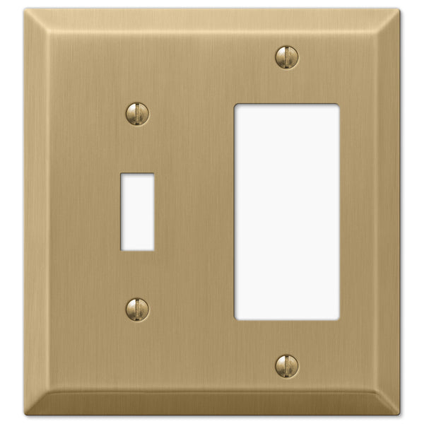 Century Brushed Bronze Steel - 1 Toggle / 1 Rocker Wallplate - Wallplate Warehouse