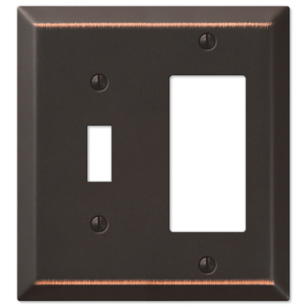 Century Aged Bronze Steel - 1 Toggle / 1 Rocker Wallplate - Wallplate Warehouse