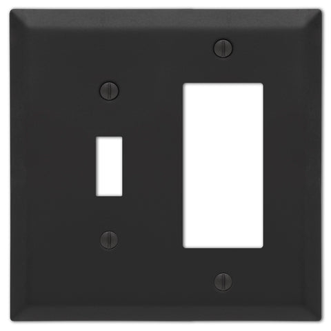 Century Matte Black Steel - 1 Toggle / 1 Rocker  Wallplate - Wallplate Warehouse