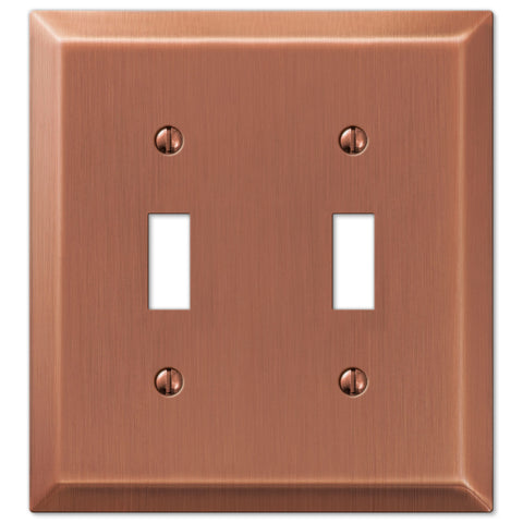 Century Antique Copper Steel - 2 Toggle Wallplate - Wallplate Warehouse