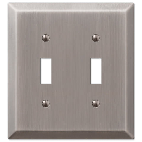 Century Antique Nickel Steel - 2 Toggle Wallplate - Wallplate Warehouse
