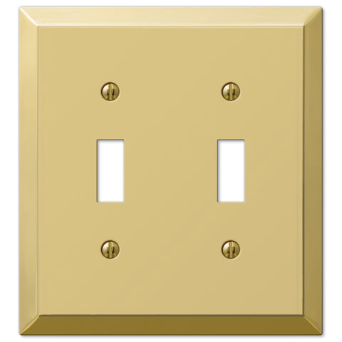 Century Polished Brass Steel - 2 Toggle Wallplate - Wallplate Warehouse