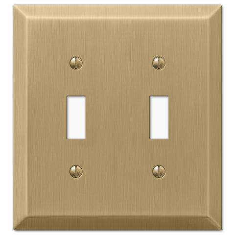 Century Brushed Bronze Steel - 2 Toggle Wallplate - Wallplate Warehouse